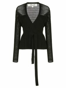 DVF Diane von Furstenberg sheer panel cardigan - Black