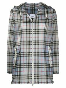 Burberry check-print hooded jacket - Blue