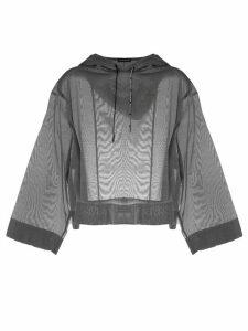 Emporio Armani transparent hooded crop-top - Grey