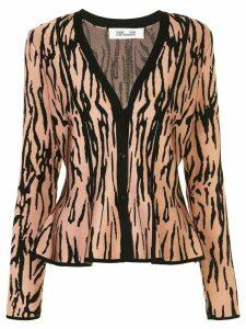 DVF Diane von Furstenberg tiger print flared cardigan - PINK