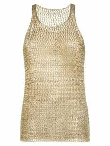 Faith Connexion metallic crochet-knit top - GOLD