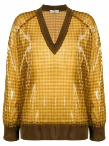 Fendi sequinned checkered V-neck jumper - Yellow