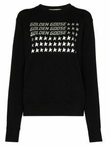 Golden Goose logo flag print sweatshirt - Black