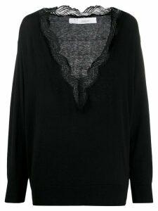 IRO lace-neckline knit top - Black