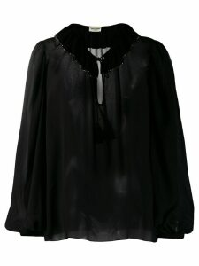 Saint Laurent rhinestone trim collared blouse - Black