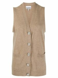 GANNI knitted sleeveless cardigan - Brown