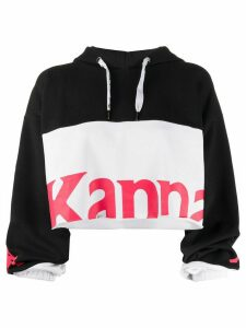 Kappa colour block logo print cropped hoodie - Black