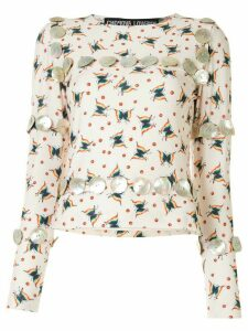 Chopova Lowena butterfly print T-shirt - NEUTRALS