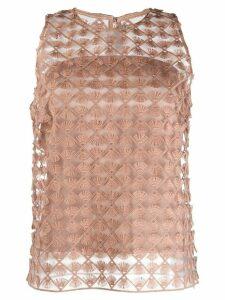 D.Exterior fringe applique blouse - NEUTRALS