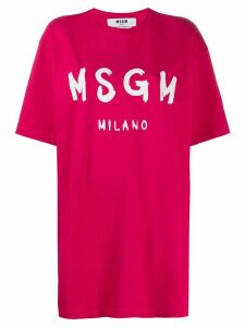MSGM long logo print T-shirt - PINK