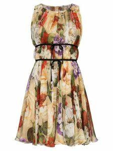 Dolce & Gabbana Floral print chiffon dress - NEUTRALS