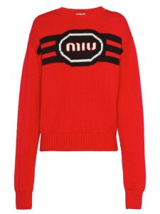 Miu Miu logo-intarsia jumper - Red