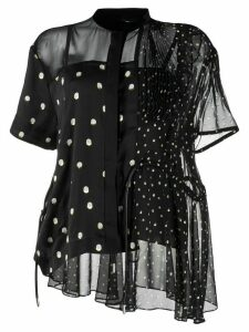 Sacai asymmetric polka dot blouse - Black