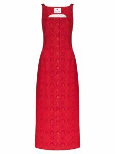 Marine Serre Moonogram jacquard pinafore dress - Red
