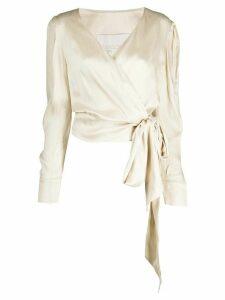Envelope1976 wrap front blouse - NEUTRALS