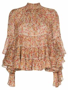 byTiMo pleated chiffon floral blouse - ORANGE