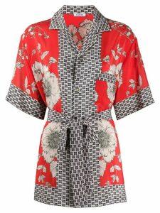 P.A.R.O.S.H. silk floral-print tied shirt - Red
