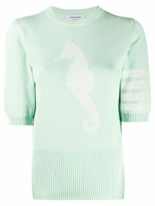 Thom Browne seahorse-detail knitted top - Green