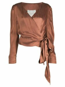 Envelope1976 wrap front blouse - Brown