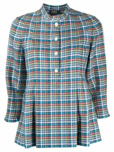 A.P.C. plaid print peplum blouse - Blue