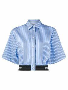 MSGM striped crop short-sleeve shirt - Blue