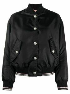 Miu Miu cat embroidery bomber jacket - Black