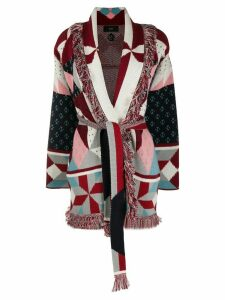 Alanui quilted all over print cardigan - Red