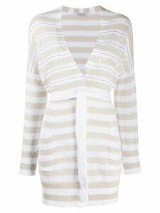 Brunello Cucinelli knitted embellished cardigan - White