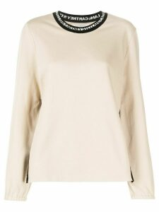 Stella McCartney logo-tape knitted jumper - NEUTRALS