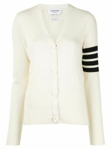 Thom Browne 4-Bar Mesh Stitch V-Neck Cardigan - 100 WHITE