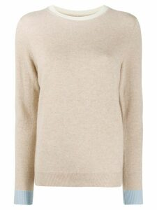 Chinti and Parker contrast-trim cashmere jumper - NEUTRALS