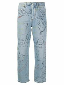 MSGM drawing-print straight-leg jeans - Blue