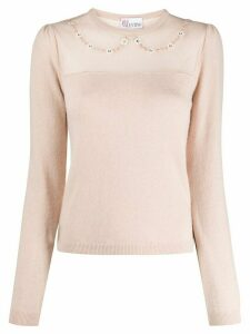 RedValentino floral appliqué knitted jumper - NEUTRALS