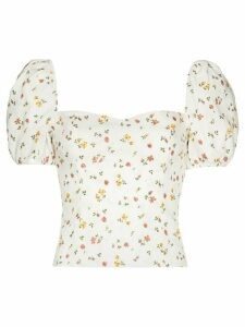Reformation Casterly floral print top - White