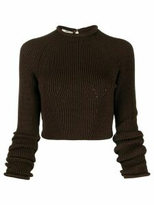 Fendi ribbed cropped jumper - Brown