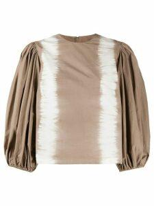 MSGM pouf sleeve tie-dye blouse - Brown