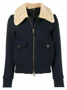 Ami Paris Zipped Jacket With Shearling Collar - Blue