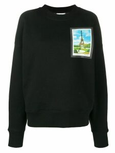Ami Paris Crew Neck Sweat With Postcard Print - Black