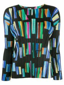 Pleats Please Issey Miyake micro-pleated geometric print top - Blue