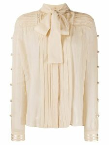 Etro pleated pussybow shirt - NEUTRALS