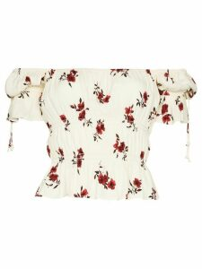 Reformation Solis floral print ruched top - White