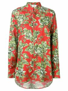 Ami Paris Long Flower Printed Shirt - ORANGE