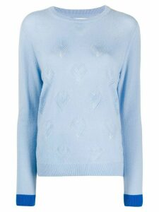 Chinti and Parker Pointelle Heart cashmere jumper - Blue