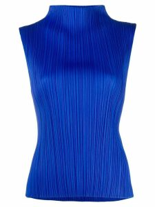 Pleats Please Issey Miyake micro-pleated high-neck top - Blue