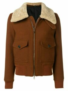 Ami Paris Zipped Jacket With Shearling Collar - Brown