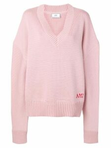 Ami Paris oversized V-neck jumper - PINK