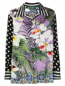 Dolce & Gabbana mix print silk shirt - Black