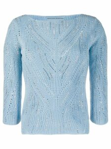 Ermanno Scervino embellished fitted jumper - Blue