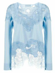 Ermanno Scervino lace panelled sweatshirt - Blue