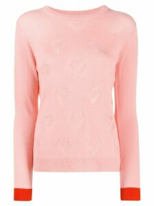 Chinti and Parker Pointelle Heart cashmere jumper - PINK